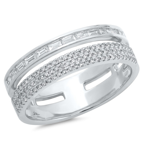 White Gold Double Band Baguette Ring