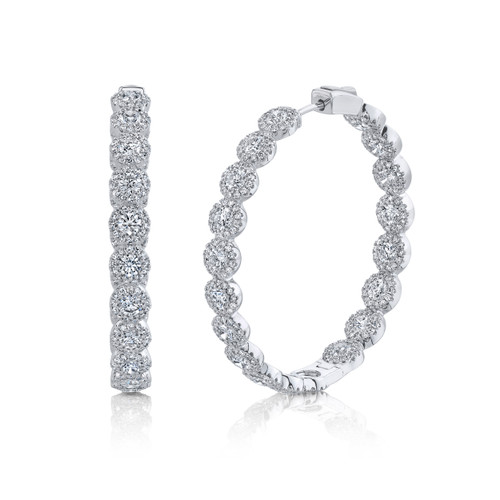 14KT Diamond Inside-Out Hoop Earrings