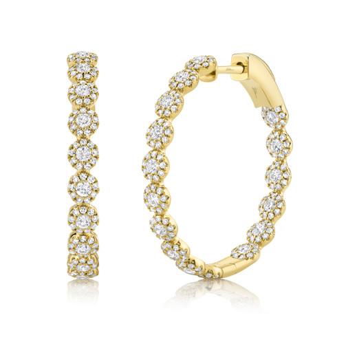 1.58ct Yellow Gold Diamond Hoops