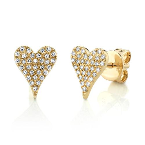 Yellow Gold Diamond Pave Heart Stud Earrings