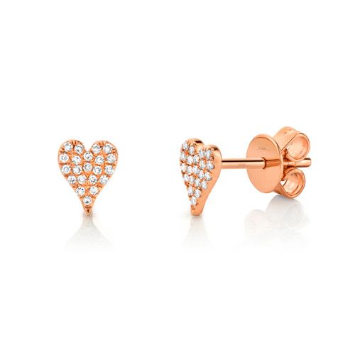 Rose Gold Diamond Pave Heart Stud Earrings