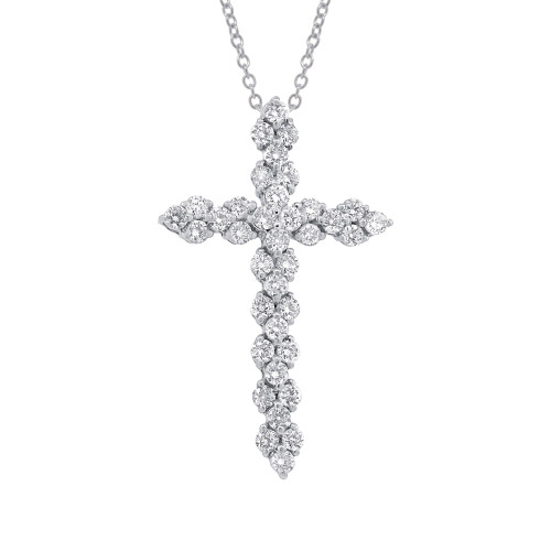 18KT White Gold Diamond Cross Necklace