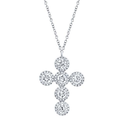14KT White Gold Diamond Cross Necklace