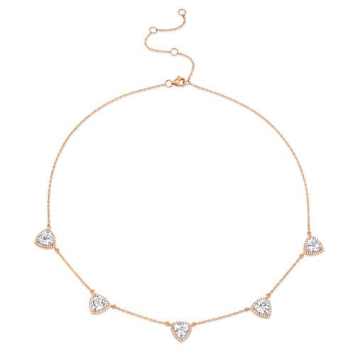 Diamond and White Topaz Station Necklace