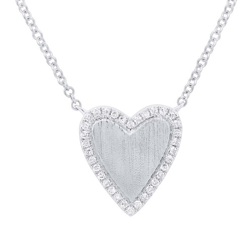 Sm White Gold Heart Necklace