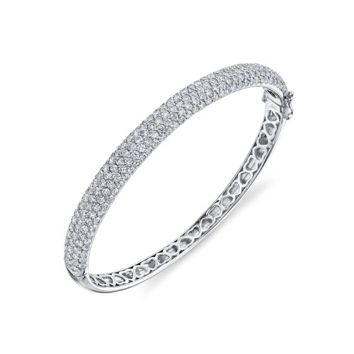 5.25CT White Gold Diamond Bangle