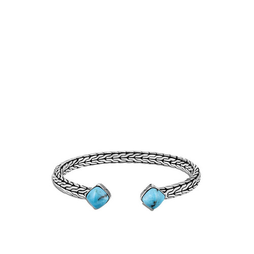 Classic Chain Flex Cuff in Silver and Turquoise