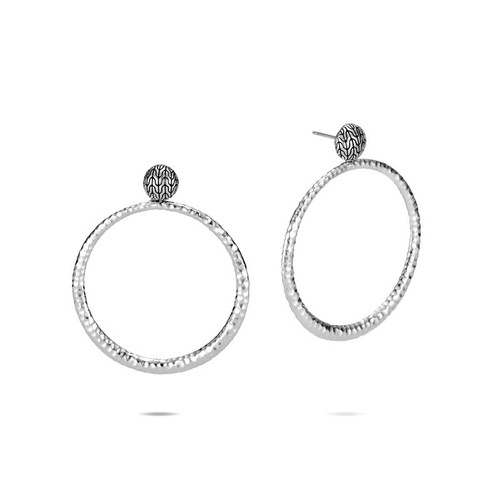 Classic Chain Round Earrings in Hammered Silver