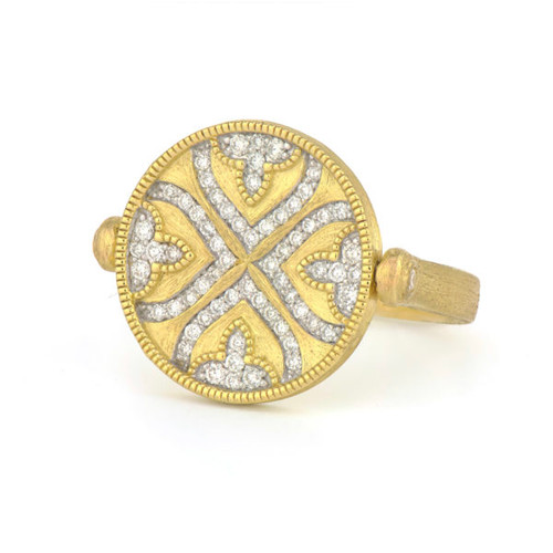 Moroccan Pave Quatrefoil Spinning Disc Ring