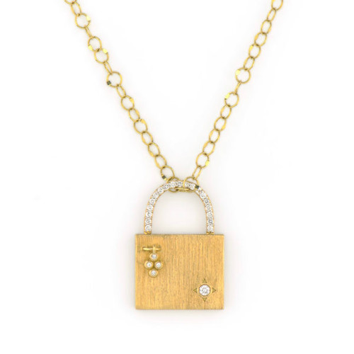 Provence Engravable Pave Lock Pendant