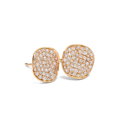 Small Flower Stud Earrings in 18KT Gold with Diamonds