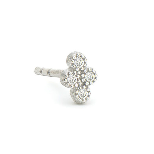 White Gold Petite Diamond Quad Stud Earring