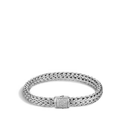 Classic Chain 7.5mm Bracelet in Silver and Diamonds