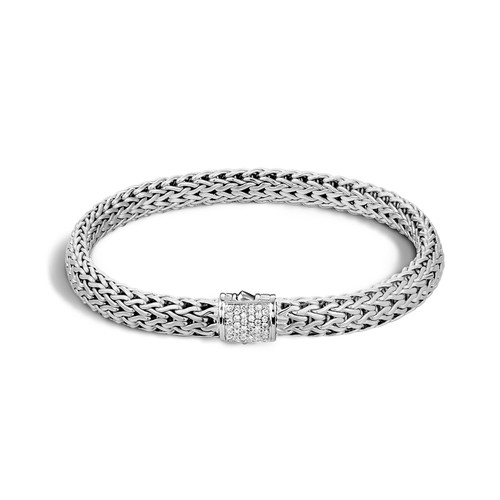 Classic Chain 6.5mm Bracelet in Silver and Diamonds