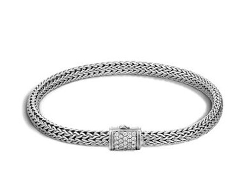 Classic Chain 5mm Bracelet in Silver and Diamonds