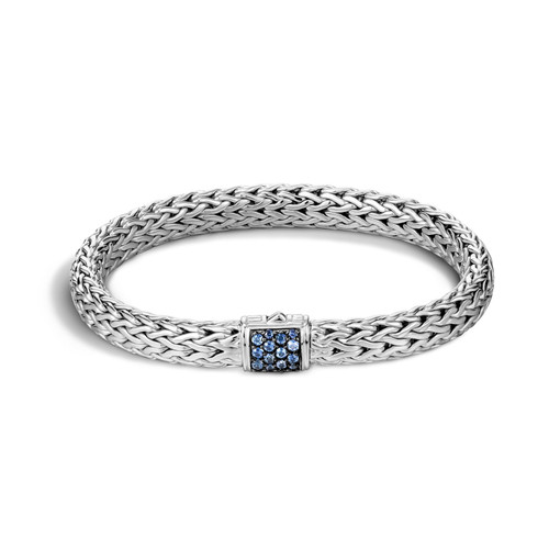 Classic Chain 7.5mm Bracelet in Silver and Blue Sapphire
