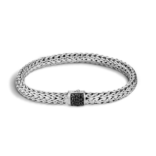 Classic Chain 6.5mm Bracelet in Silver and Black Sapphire