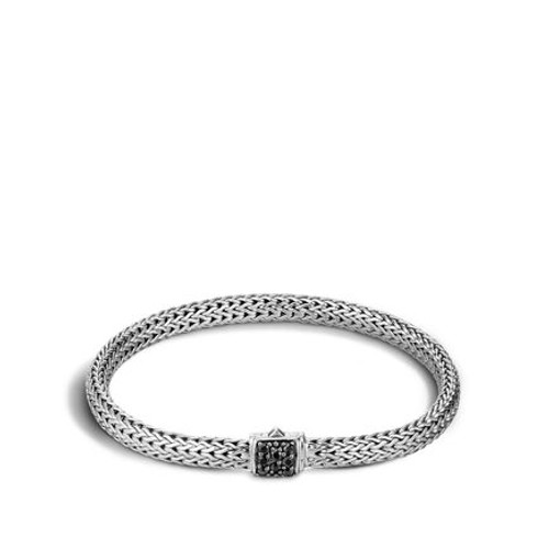 Classic Chain 5mm Bracelet in Silver and Black Sapphire