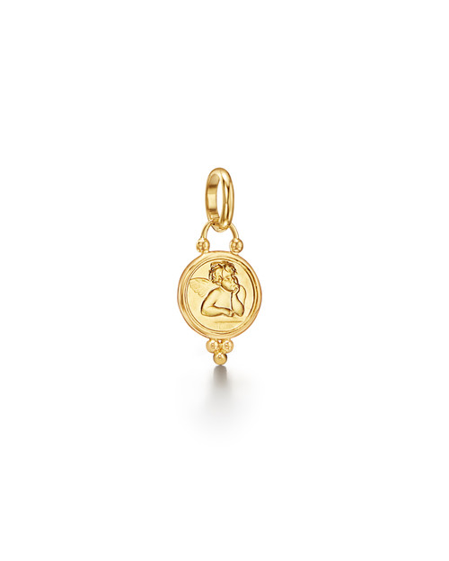 10mm 18KT Yellow Gold Angel Pendant
