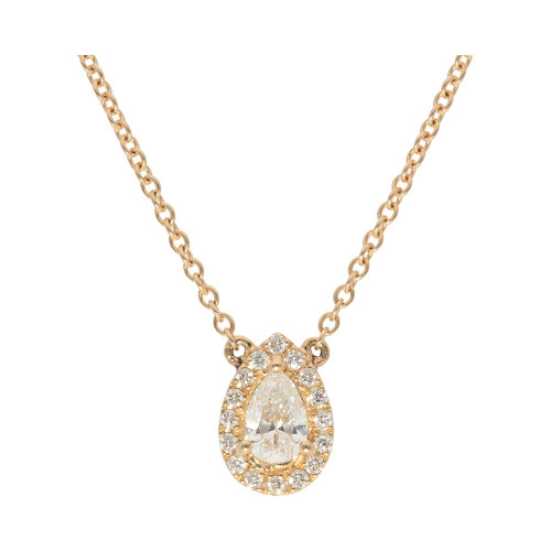 Pear Shape Diamond Halo Necklace