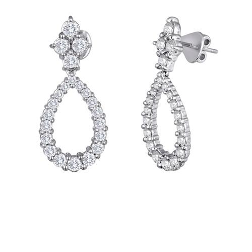 Diamond Cluster and Pear Shape Drop Earrings