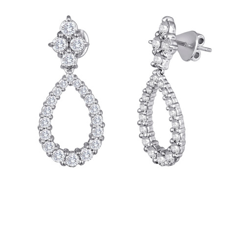 Diamond Cluster and Pear Shape Drop Earrings