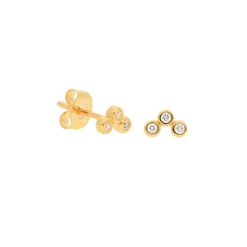 14KT Diamond Arch Stud Earrings