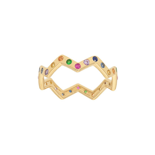 Rainbow Multicolor Zig Zag Eternity Band