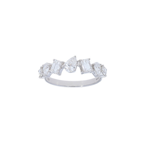 White Gold Alternating Diamond Ring