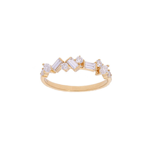 Rose Gold Alternating Diamond Ring