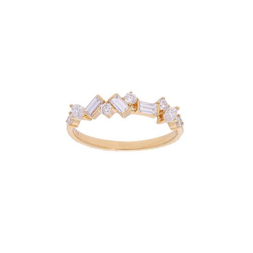 Rose Gold Alternating Diamond Ring