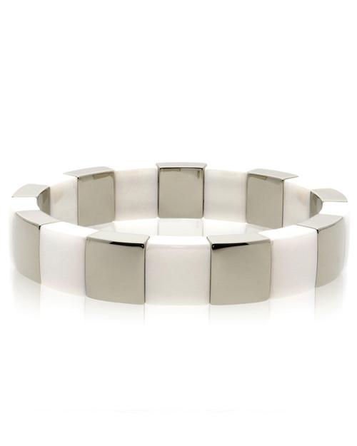 Matte White Ceramic Stretch Bracelet