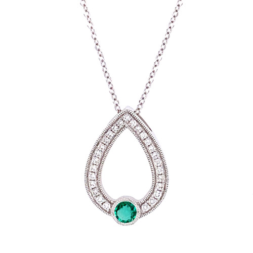 Emerald Open Pear Shape Necklace