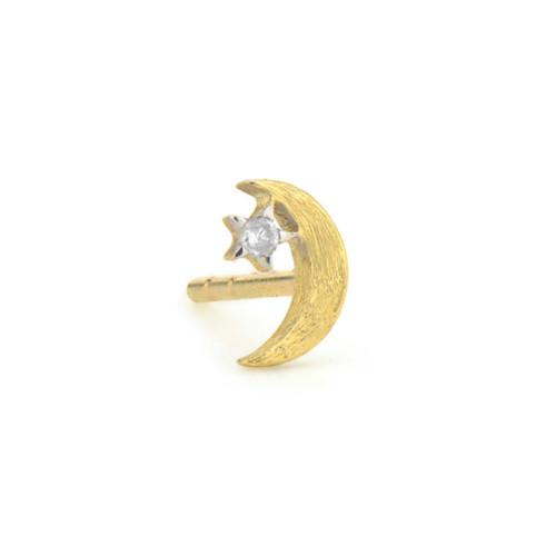 18KT Petite Moon Stud Earring