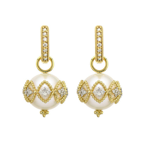 Provence Medium Filigree Pave Pearl Earring Charms