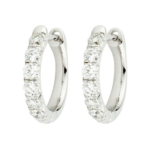 Diamond  French Pave Hoop Earrings