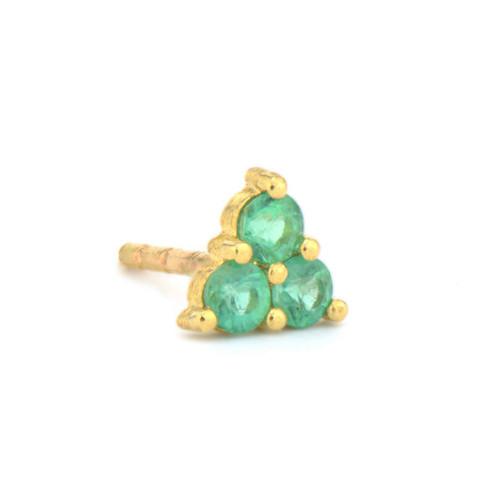 Petite Emerald Trio Stud Earring