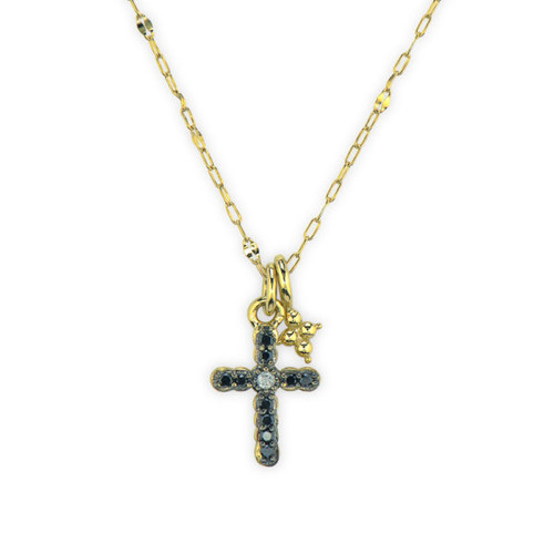 Petite Pave Black Diamond Cross Pendant Necklace