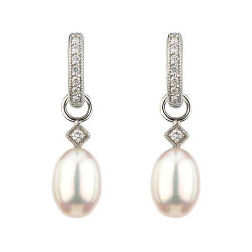 Lisse Earring Charms with Briolette White Pearl