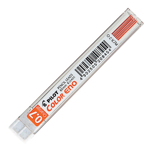 Pilot Colour Eno Coloured Pencil 0.7mm Orange Lead Refill 6Pk (PLCR-7-O)