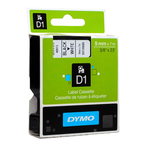 Dymo 9mm D1 Tape Black on White - 7M