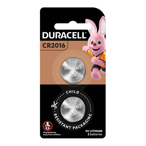Duracell Lithium Coin CR2016 Battery Pack of 2