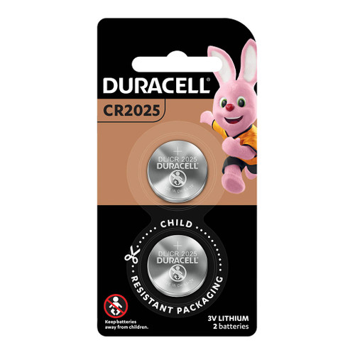 Duracell Lithium Coin CR2025 Battery Pack of 2