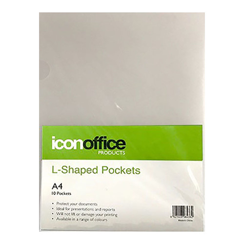 Icon L Shaped Pockets A4 Clear Pack 10
