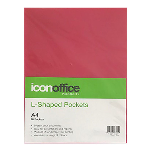 Icon L Shaped Pockets A4 Red Pack 10
