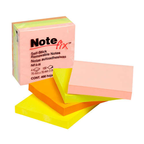 NoteFix Self-Stick Notes 76x76mm Neon Pack 4