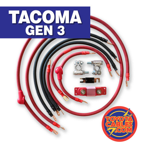 Toyota Tacoma Battery Cable Upgrade Kit - Fine-strand, SAE (Society of Automotive Engineers) approved copper cable, copper terminals crimped and sealed with marine grade heatshrink. Also included are military style corrosion resistant battery connections and an ANL fuse and holder. Every end will be labeled for ease of installation.