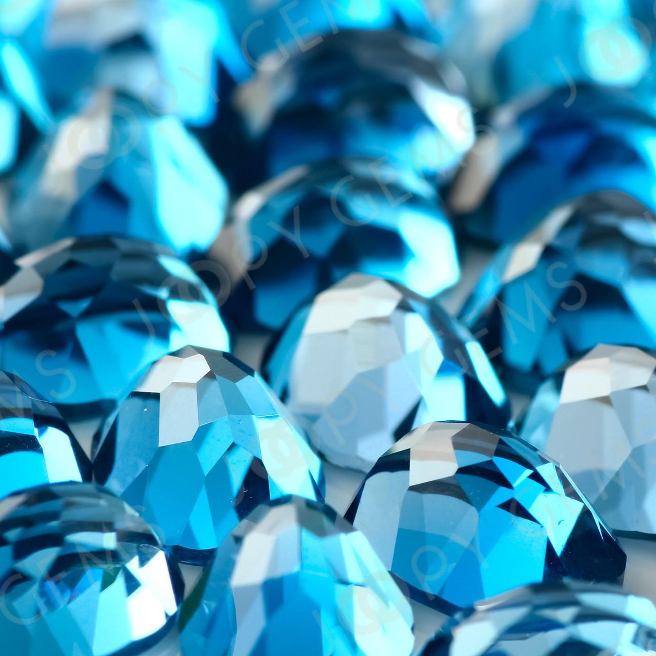Sky Blue Topaz Rose Cut Oval Cabochon 8x6mm per stone