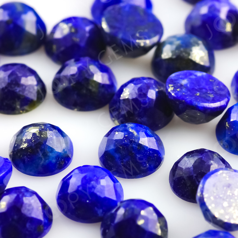 5 Pcs Natural Lapis Lazuli Rose Cut Cabochons Ring Stones 15x11.5mm approx. Loose Gemstones 10x8mm