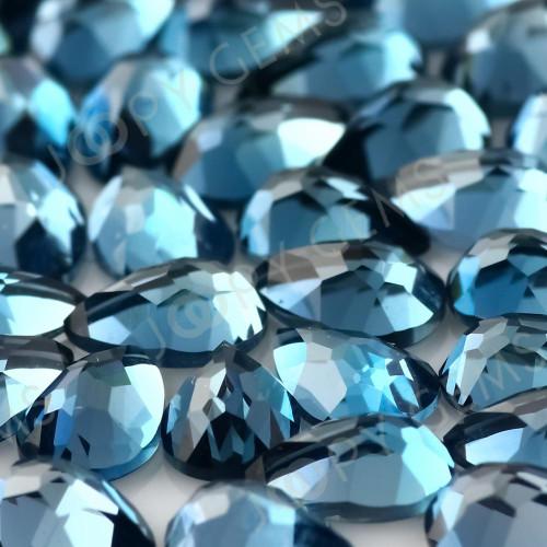 London Blue Topaz Rose Cut Loose Cabochons Vibrant Blue Colour and Freeform Shapes